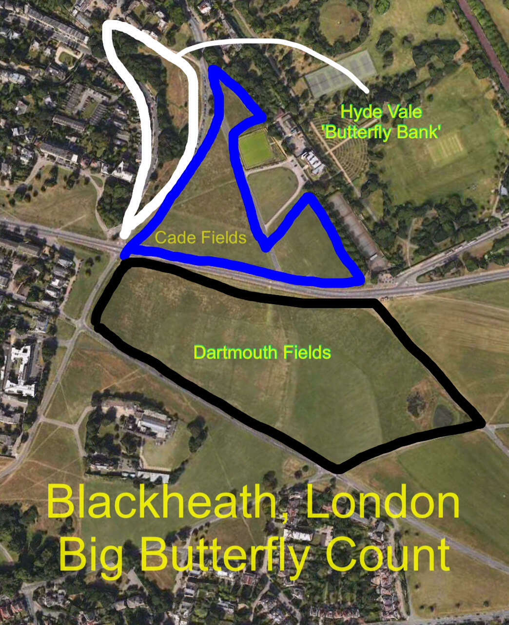 Map of Blackheath - Big butterfly Count areas